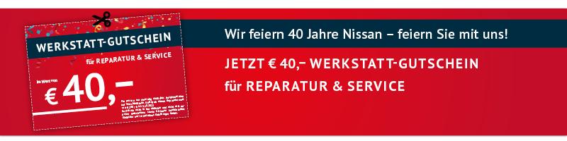 Jetzt € 40,– Werkstatt-Gutschein für Reparatur & Service ausdrucken
